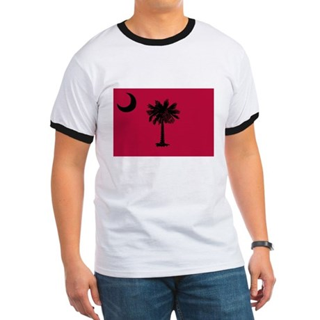 Black and Garnet South Carolina Flag Ringer T
