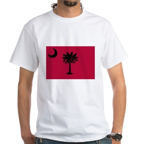 Black and Garnet South Carolina Flag White T-Shirt