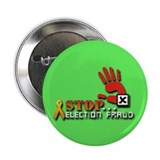 "Red Hand Stop Election Fraud Lime 2.25"" Button"