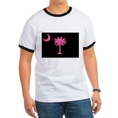 Pink and Black South Carolina Flag Ringer T