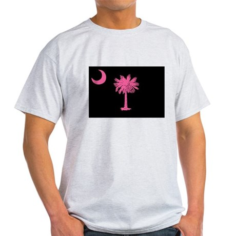 Pink and Black South Carolina Flag Light T-Shirt