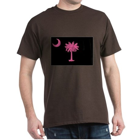 Pink and Black South Carolina Flag Dark T-Shirt
