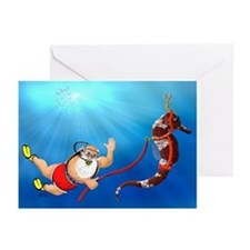 Scuba Santa Claus Greeting Cards (Pk of 10) {MCHN}