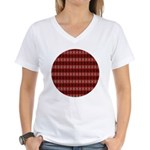 Red Pattern 997 Women's V-Neck T-Shirt