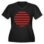 Red Pattern 997 Women's Plus Size V-Neck Dark T-Sh