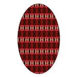 Red Pattern 997 Oval Sticker