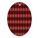Red Pattern 997 Oval Ornament