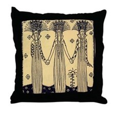 Three Princesses Throw Pillow