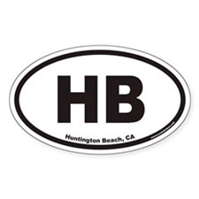 Huntington Beach HB Euro Oval Decal