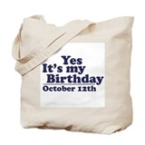 October 12th Birthday Tote Bag