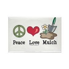 Peace Love Mulch Gardening Rectangle Magnet (100 p