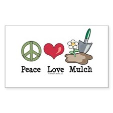 Peace Love Mulch Gardening Rectangle Decal