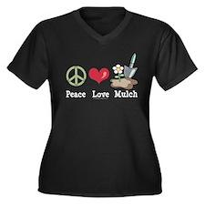Peace Love Mulch Gardening Plus Size V-Neck Tee