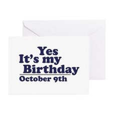 October 9th Birthday Greeting Cards (Pk of 10)