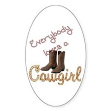 Loves Cowgirl Oval Decal