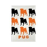 Orange & Black Pugz Rectangle Magnet (10 pack)