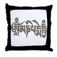 Antique Om Mani Padme Hum Throw Pillow