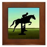 Hunter Jumper Grassy Field Framed Tile