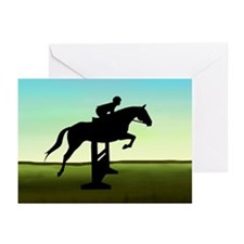 Hunter Jumper Grassy Field Greeting Cards (Pk of 1