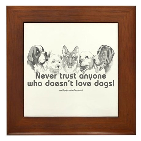 Dog Love Framed Tile