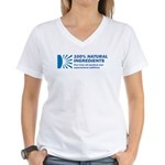 100% Natural Women's V-Neck T-Shirt
