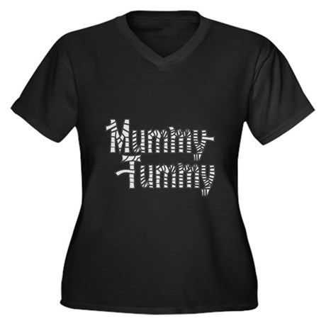 Mummy Tummy Halloween Women's Plus Size V-Neck Dar