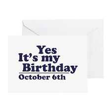 October 6th Birthday Greeting Card