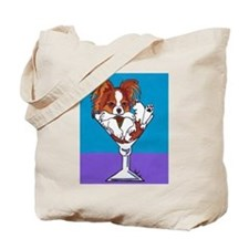 Papillon, White & Red Tote Bag