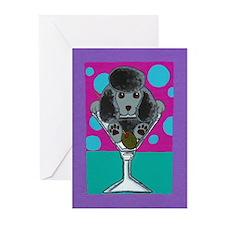 Black Poodle Martini Greeting Cards (Pk of 10)