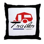 Trailer Red Streamline Throw Pillow