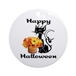 Halloween Black Cat Ornament (Round)