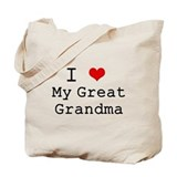I Heart My Great Grandma Tote Bag