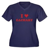 I LOVE ZACHARY Women's Plus Size V-Neck Dark T-Shi
