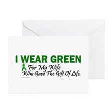 Green For Wife Organ Donor Donation Greeting Cards