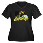 SIZZLA Women's Plus Size V-Neck Dark T-Shirt