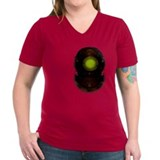 Women's V-Neck Dark Diving Helmet T-Shirt