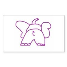 Pink Elephant Rectangle Decal