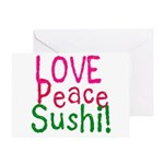 Love Peace Sushi Greeting Card