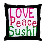 Love Peace Sushi Throw Pillow