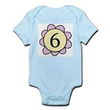 six purple/yellow flower infant bodysuit