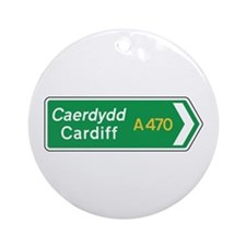 Cardiff Roadmarker, UK Ornament (Round)