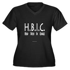 HBIC Women's Plus Size V-Neck Dark T-Shirt