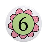 6 pink/green flower Ornament (Round)