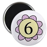 6 purple/yellow flower Magnet