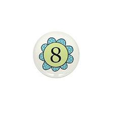 8 blue/green flower Mini Button