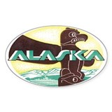 Vintage Alaska Retro Oval Decal