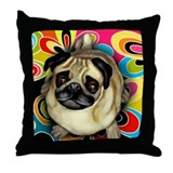 Pug Retro Dog Throw Pillow