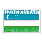 Uzbekistan Uzbek Flag Rectangle Sticker