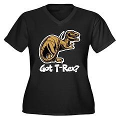 Got T-Rex? Women's Plus Size V-Neck Dark T-Shirt