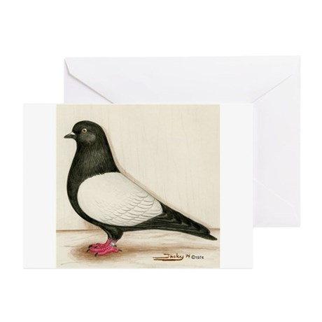 Black Whiteside Roller Pigeon Greeting Cards (Pk o
